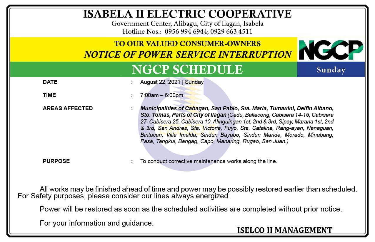 NOTICE OF NGCP POWER SERVICE INTERRUPTION August 22, 2021 | Sunday