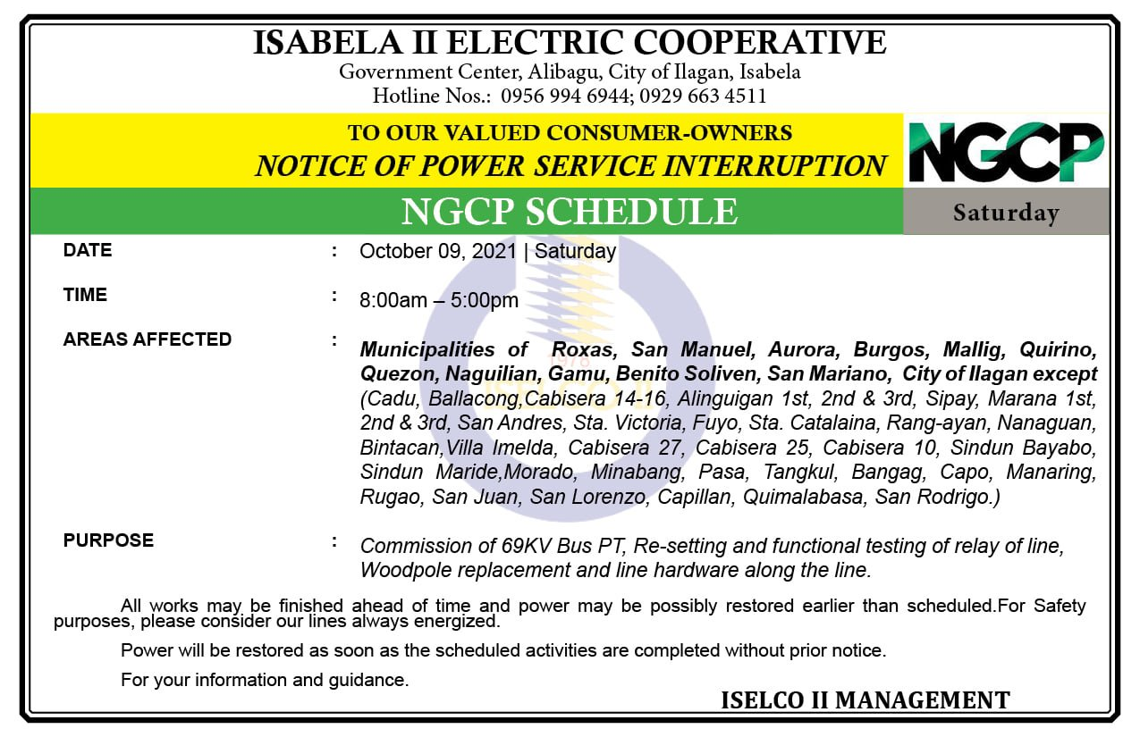 NOTICE OF NGCP POWER SERVICE INTERRUPTION October 09, 2021 | Saturday