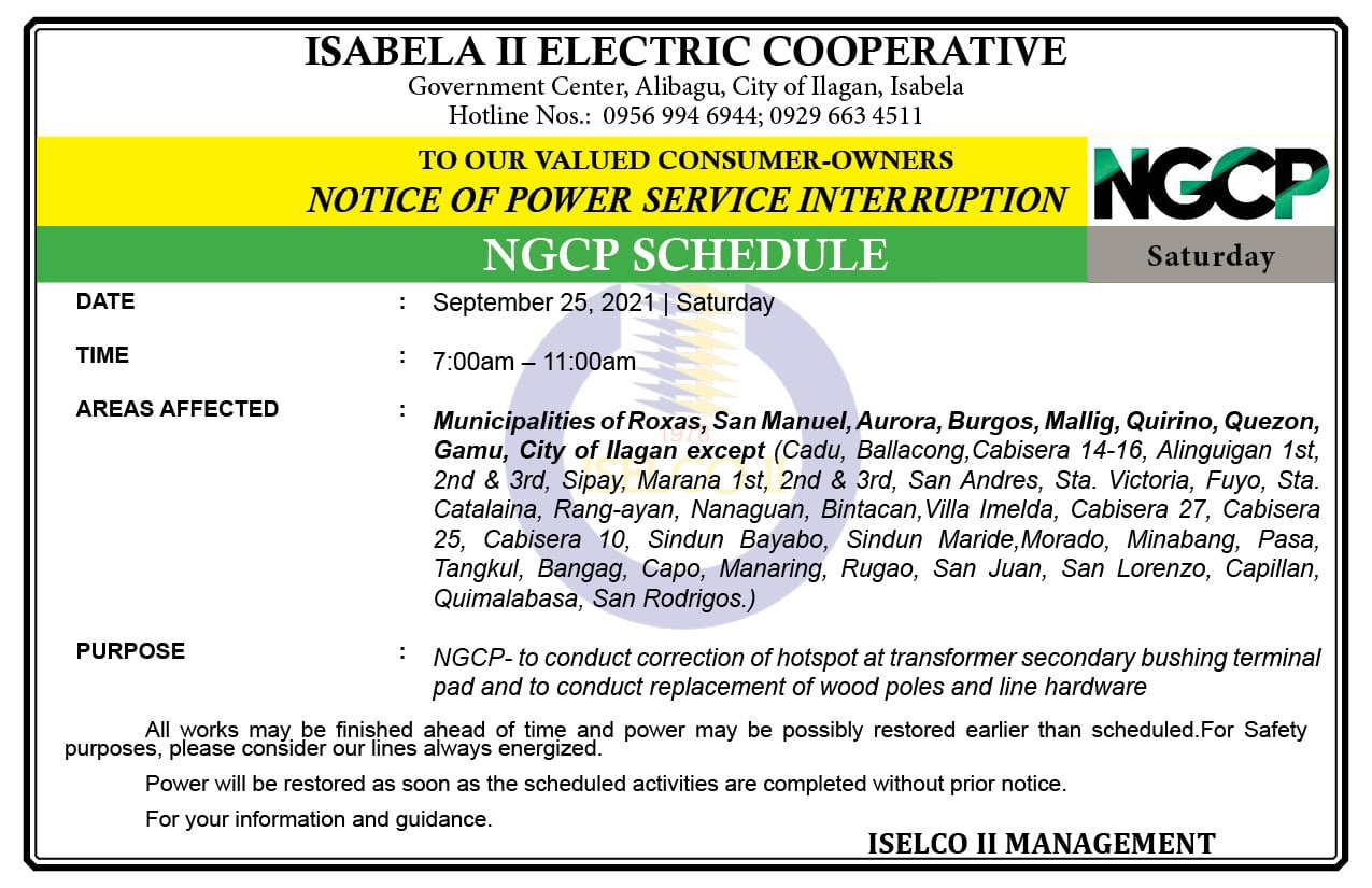 NOTICE OF NGCP POWER SERVICE INTERRUPTION September 25, 2021 | Saturday