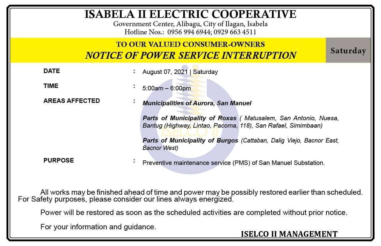 NOTICE OF POWER SERVICE INTERRUPTION August 07, 2021   Saturday