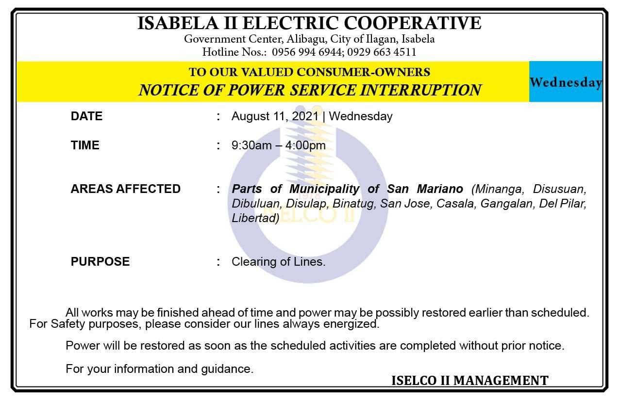 NOTICE OF POWER SERVICE INTERRUPTION August 11, 2021   Wednesday
