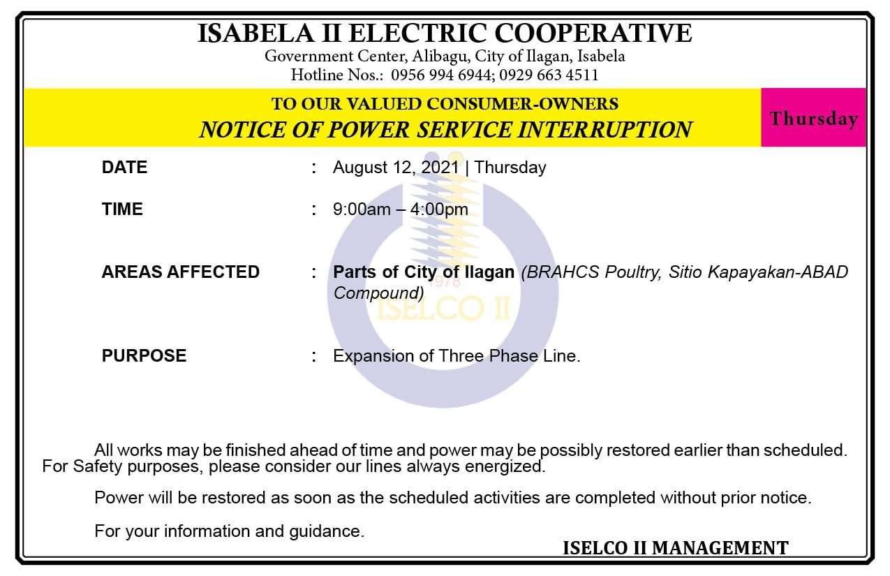 NOTICE OF POWER SERVICE INTERRUPTION August 12, 2021   Thursday