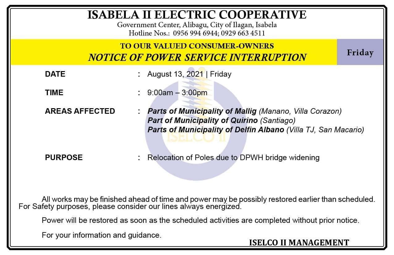 NOTICE OF POWER SERVICE INTERRUPTION August 13, 2021   Friday