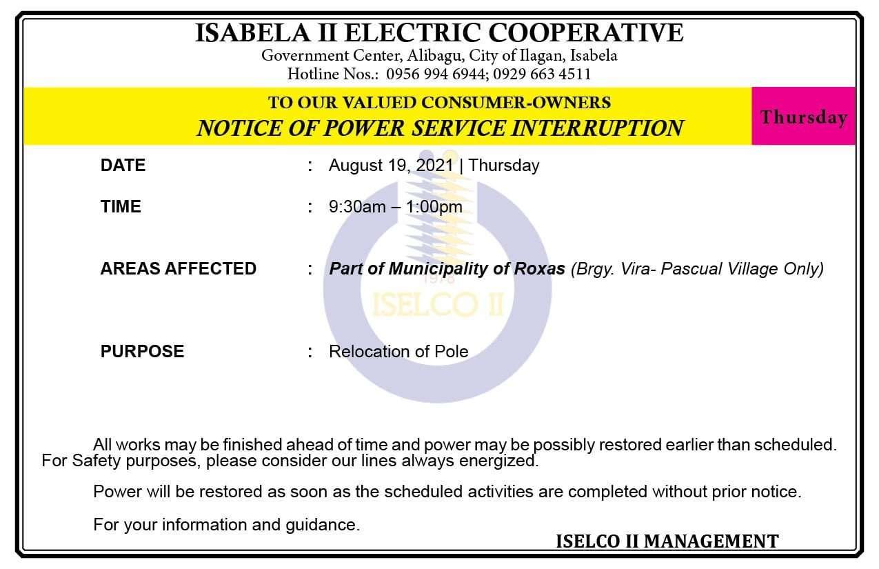 NOTICE OF POWER SERVICE INTERRUPTION August 19, 2021 | Thursday