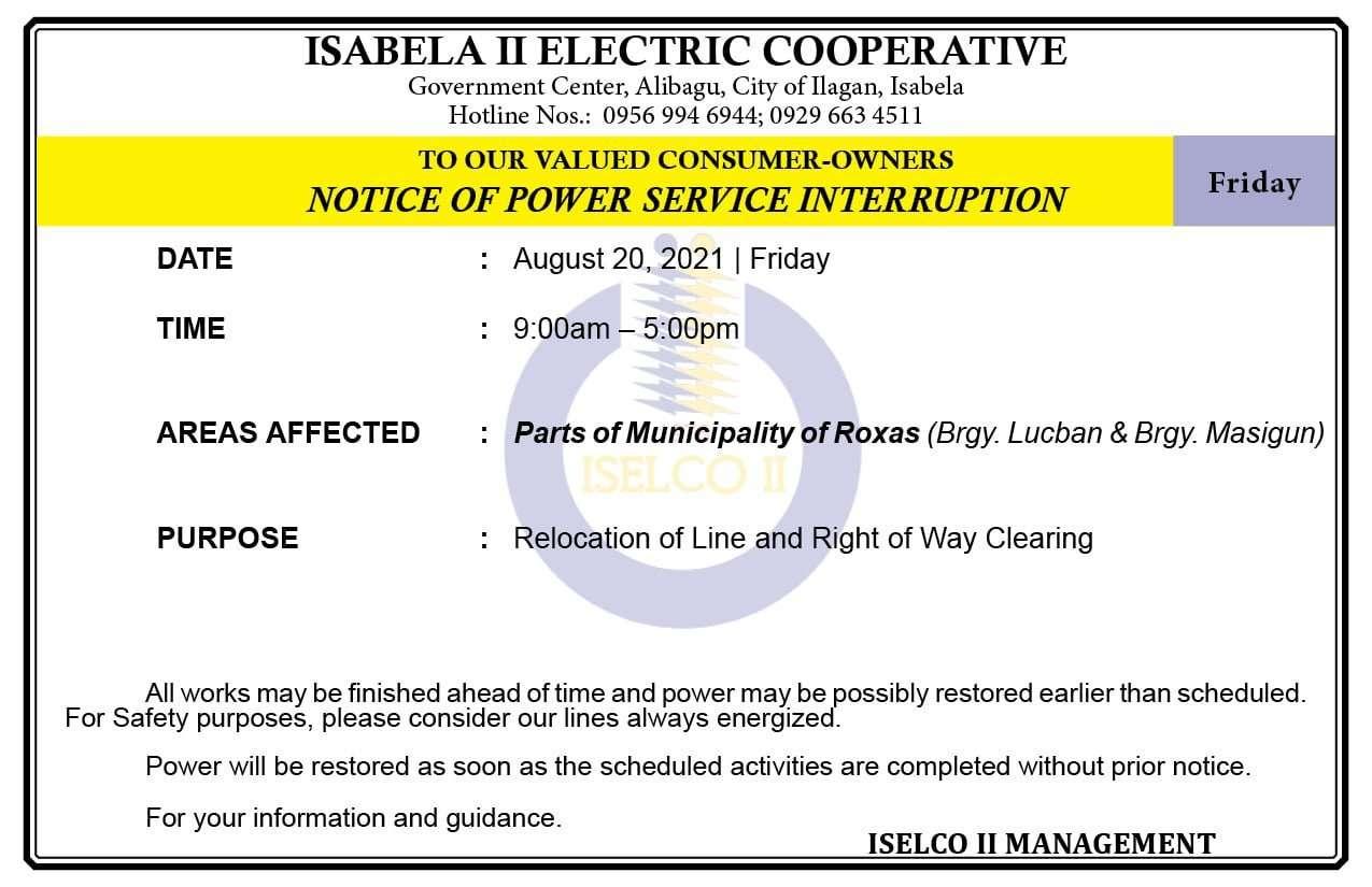 NOTICE OF POWER SERVICE INTERRUPTION August 20, 2021   Friday