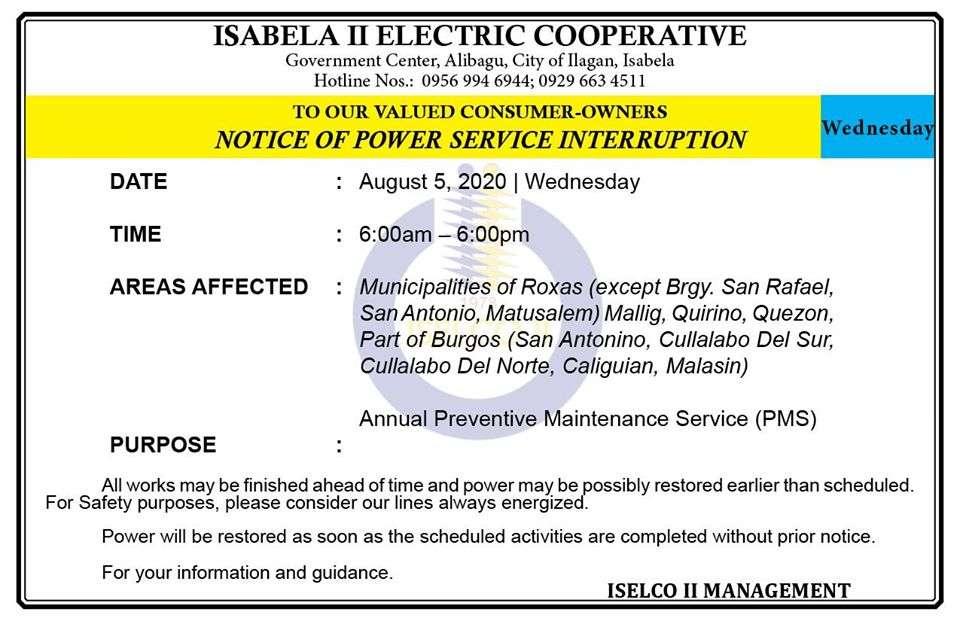 NOTICE OF POWER SERVICE INTERRUPTION August 5, 2020   Wednesday