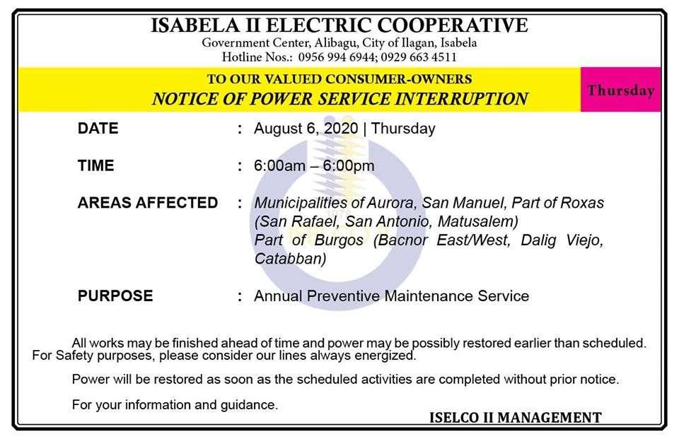 NOTICE OF POWER SERVICE INTERRUPTION August 6, 2020   Thursday