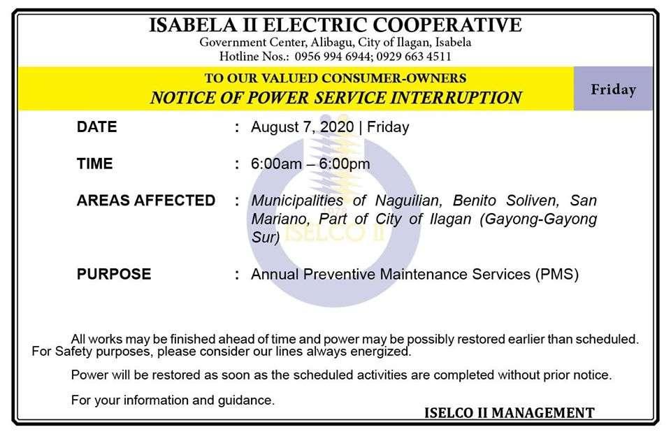 NOTICE OF POWER SERVICE INTERRUPTION August 7, 2020   Friday