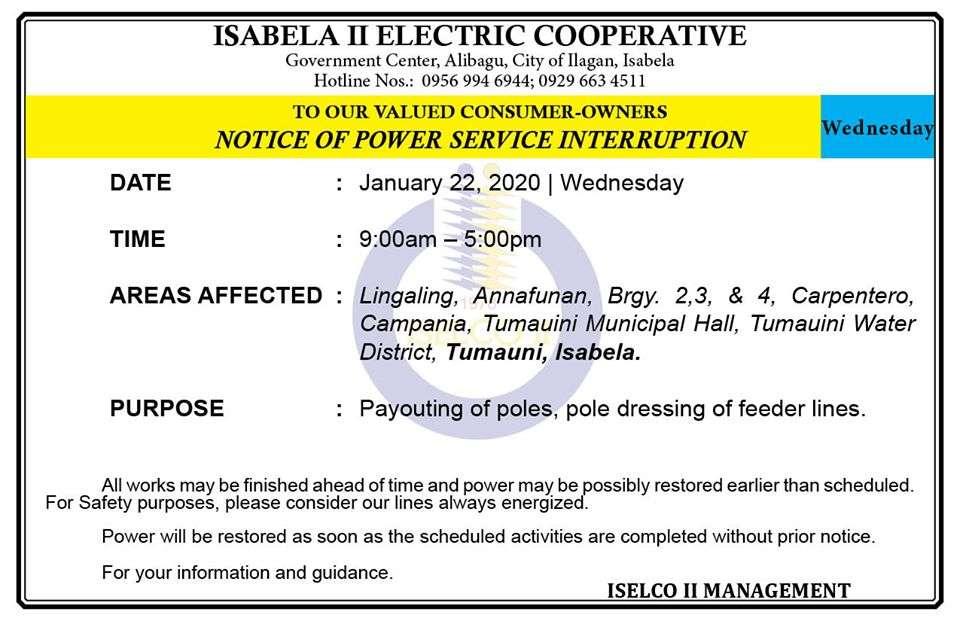 NOTICE OF POWER SERVICE INTERRUPTION January 22, 2020   Wednesday