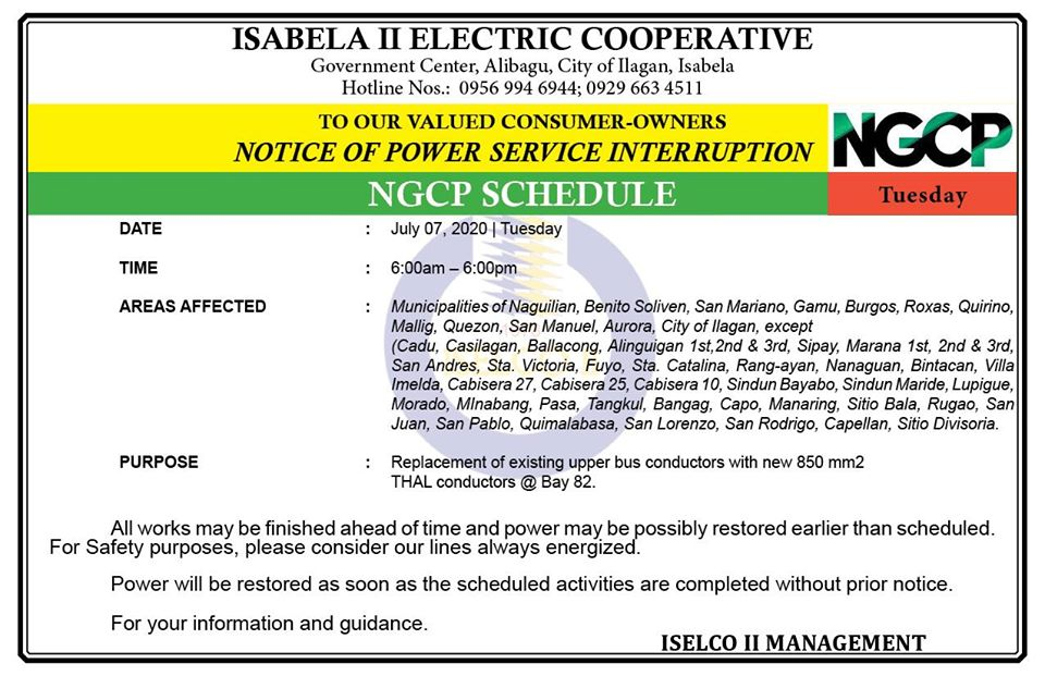 NOTICE OF POWER SERVICE INTERRUPTION July 07, 2020 | Tuesday