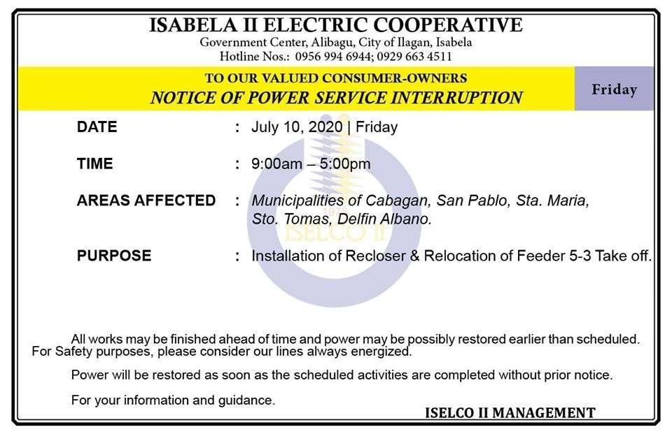 NOTICE OF POWER SERVICE INTERRUPTION July 10, 2020   Friday
