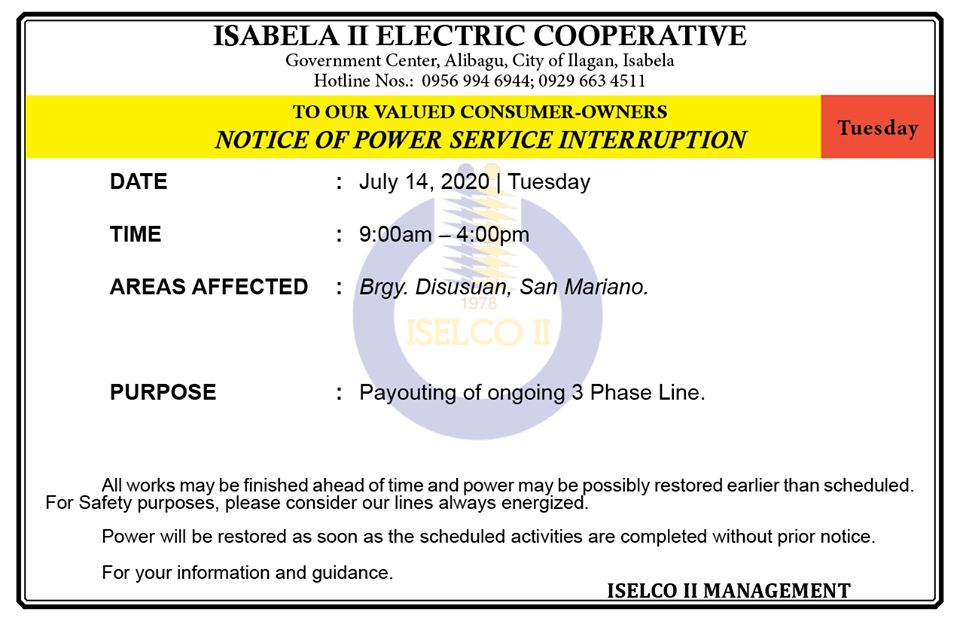 NOTICE OF POWER SERVICE INTERRUPTION July 14, 2020   Tuesday