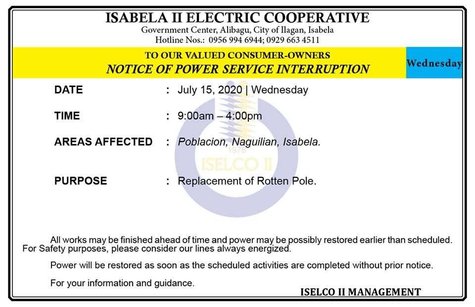 NOTICE OF POWER SERVICE INTERRUPTION July 15, 2020   Wednesday