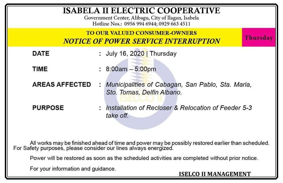 NOTICE OF POWER SERVICE INTERRUPTION July 16, 2020   Thursday
