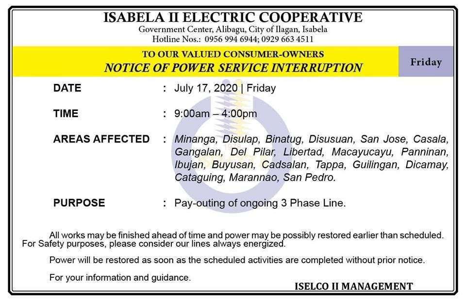 NOTICE OF POWER SERVICE INTERRUPTION July 17, 2020   Friday