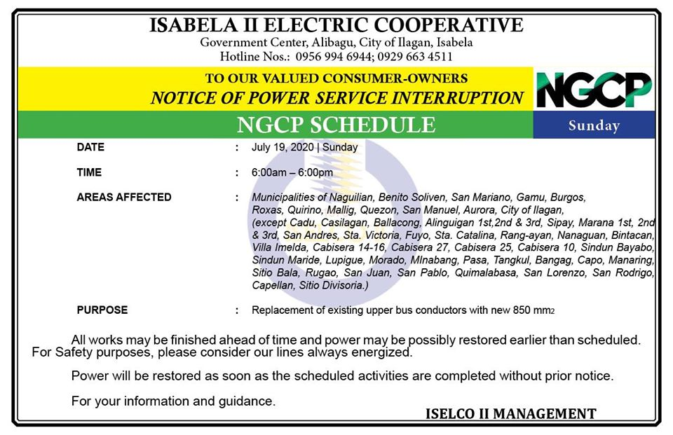 NOTICE OF POWER SERVICE INTERRUPTION July 19, 2020 | Sunday