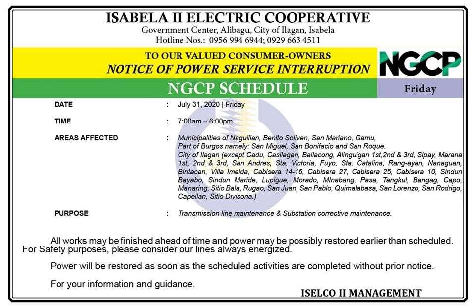 NOTICE OF POWER SERVICE INTERRUPTION July 31, 2020 | Friday