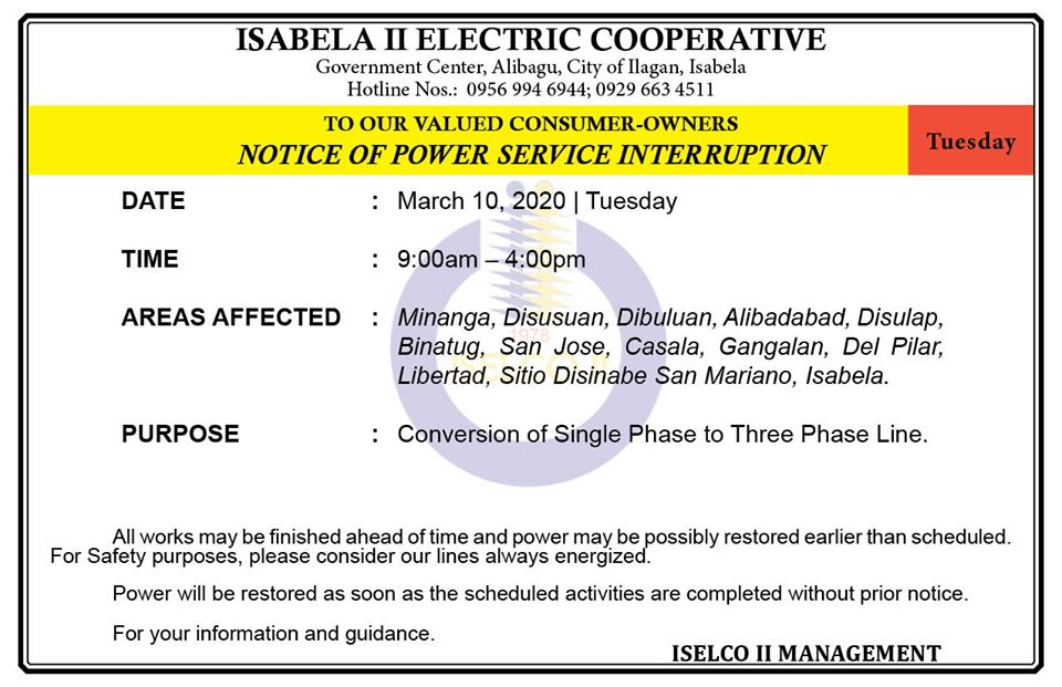 NOTICE OF POWER SERVICE INTERRUPTION March 10, 2020   Tuesday