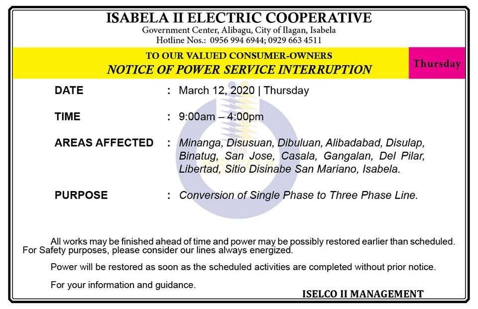 NOTICE OF POWER SERVICE INTERRUPTION March 12, 2020   Thursday