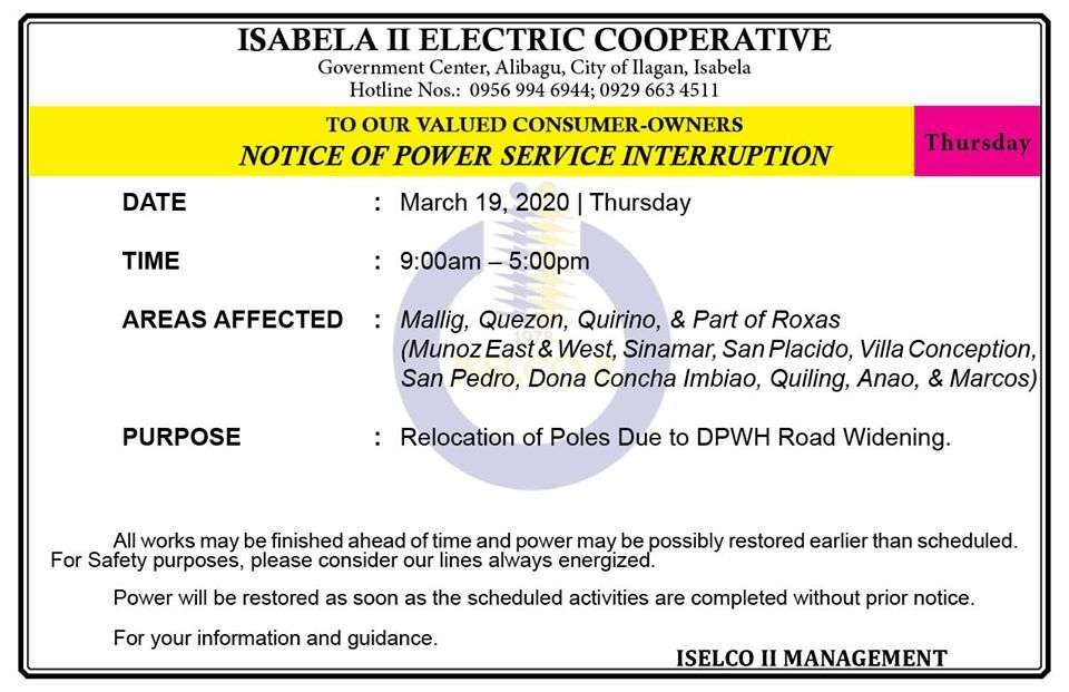 NOTICE OF POWER SERVICE INTERRUPTION March 19, 2020   Thursday