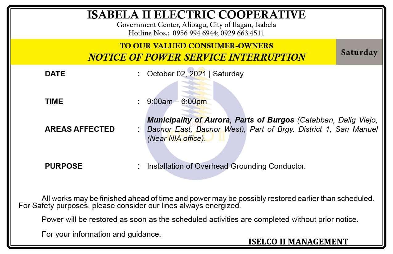 NOTICE OF POWER SERVICE INTERRUPTION October 02, 2021   Saturday