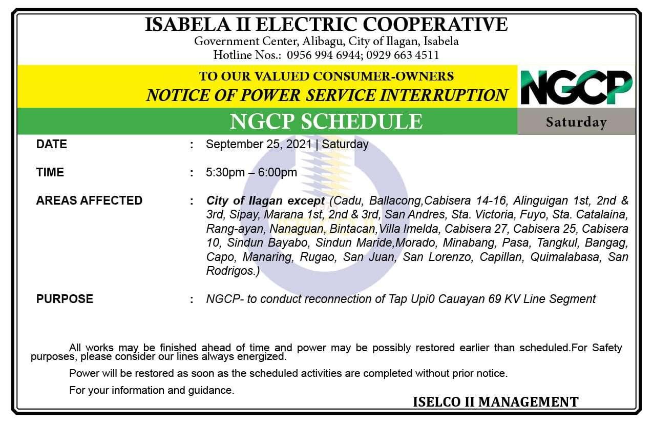 NOTICE OF POWER SERVICE INTERRUPTION September 25, 2021 | Saturday