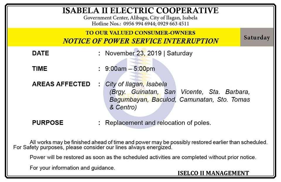 NOTICE OF POWER SERVICE INTERRUPTION November 23, 2019   Saturday