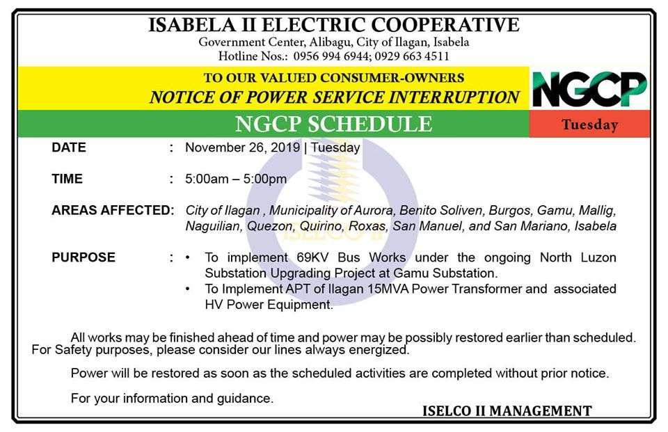 NOTICE OF POWER SERVICE INTERRUPTION November 26, 2019 | Tuesday