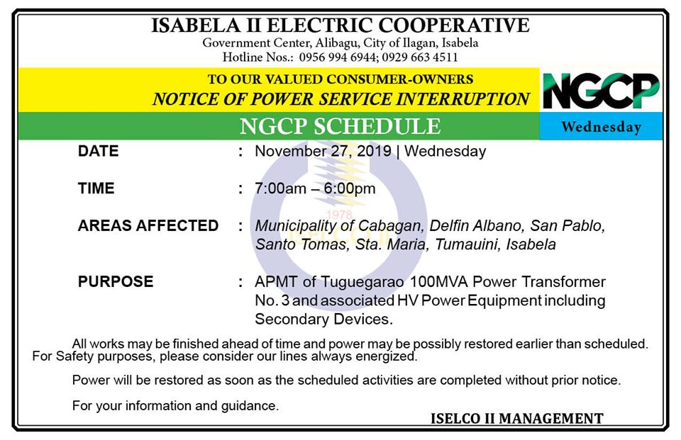 NOTICE OF POWER SERVICE INTERRUPTION November 27, 2019 | Wednesday