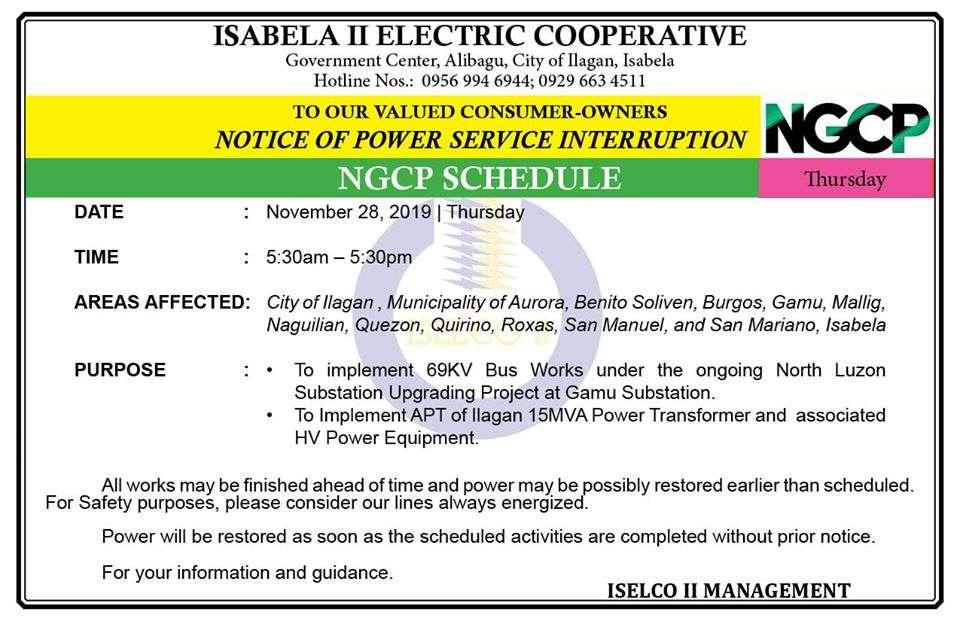 NOTICE OF POWER SERVICE INTERRUPTION RE-SCHEDULED November 28, 2019 | Thursday
