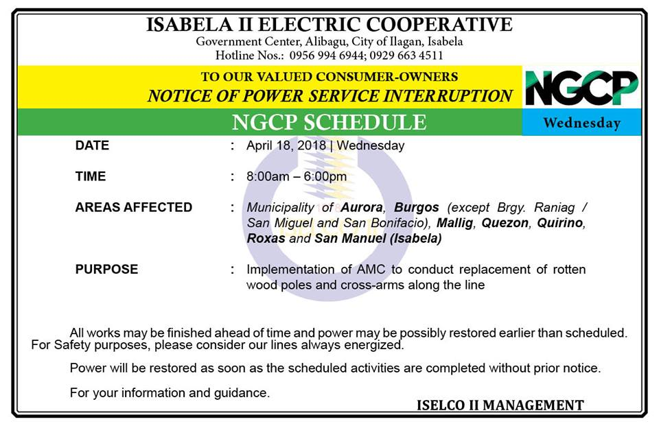 NOTICE OF POWER SERVICE INTERRUPTION April 18, 2018 | Wednesday