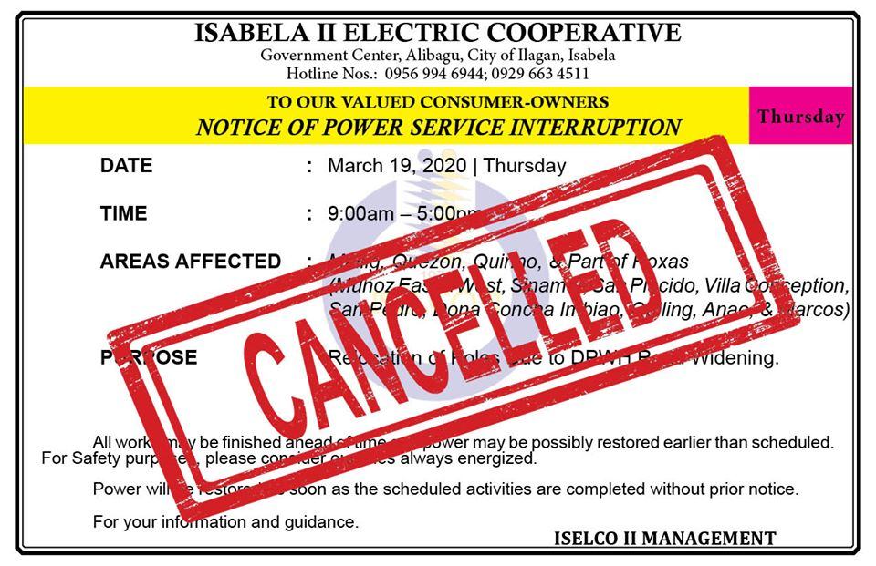 CANCELLED NOTICE OF POWER SERVICE INTERRUPTION March 19, 2020   Thursday