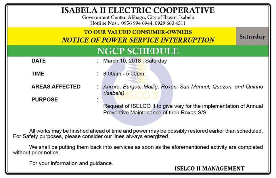 NOTICE OF POWER SERVICE INTERRUPTION March 10, 2018