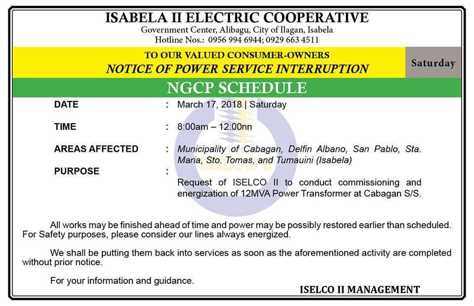 NOTICE OF POWER SERVICE INTERRUPTION March 17, 2018
