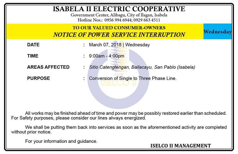 NOTICE OF POWER SERVICE INTERRUPTION March 07, 2018