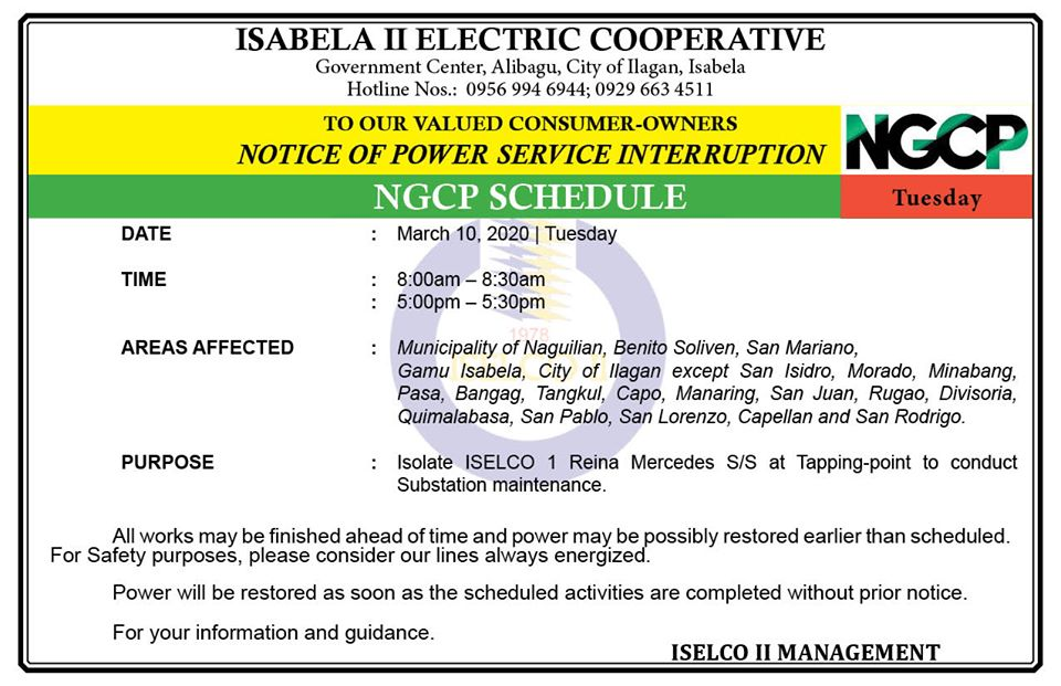 NOTICE OF POWER SERVICE INTERRUPTION March 10, 2020 |Tuesday